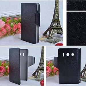 Prevoa ® 丨 Funda de cuero con tapa para Huawei Ascend Y300 , Color Negro