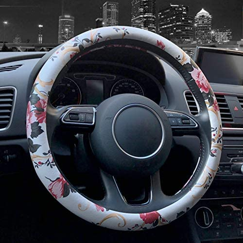 Binsheo PU Leather Floral Auto Car Steering Wheel Cover, Anti Slip Non-toxic Universal 15-inch Chinese Style Steering Wheel Cover for Women Girls Ladies, White with Red Flowers