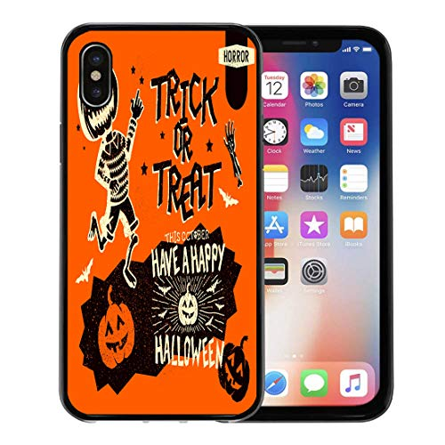 Emvency Phone Case for Apple iPhone Xs Case/iPhone X Case,Black Hand of Retro Vintage Halloween Including Signs Lettering Soft Rubber Border Decorative, Black
