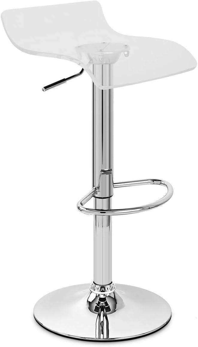 Transparent Stool Alamos Clear Modern Adjustable /& Swivel Barstool Pub Chair Clear Acrylic Stool with Chrome Pedestal Base Hydraulic Stool Kitchen Island Set of 2