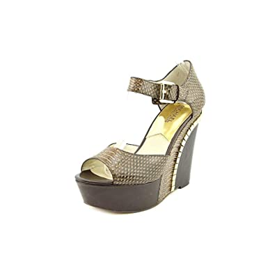 35214dcbc75 Michael Kors Ella Wedge Printed Leather Sandals (11) Dark Chocolate