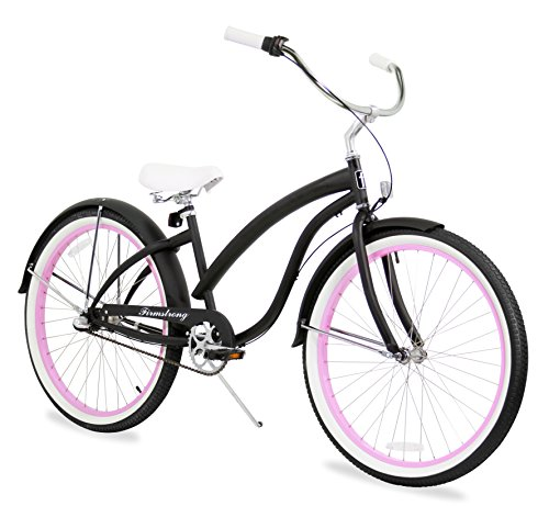 Firmstrong Bella Fashionista 3-Speed Beach Cruiser Bicycle, 26-Inch, Matte Black/Pink Rim