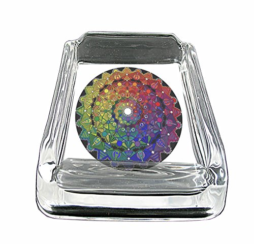 Mandala Rainbow Have Fun Gifts Glass Square Ashtray for outdoor With Four Places To Drop Your Cigarette-Thick And Transparent Glass Tray Gift Gifts India Hippie Elephant for men - Transparent Hippie