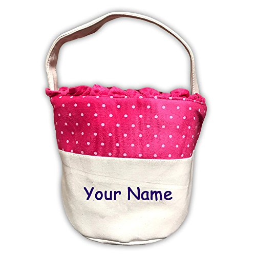Personalized Holiday Easter Basket Easter Decoration Pink Polka Dots and Ruffles Round Canvas Tote Bag with Name Embroidery