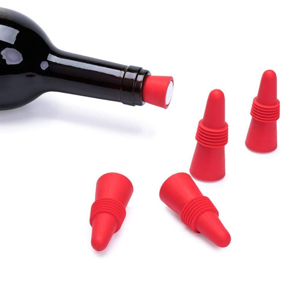 Lovewe Wine Stoppers,Silicone Reusable Wine Bottle stopper and Beverage Bottle Stoppers,Red(Set of 5)