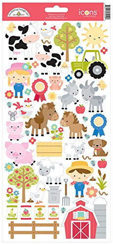 Doodlebug 5929 Cardstock Stickers Down On The Farm Icons, Multicolor ()