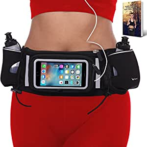 """[Voted #1 Hydration Belt] Running Fuel Belt by Runtasty; Includes accessories - 2 BPA Free Water Bottles & Runners Ebook; Fits ANY iPhone; w/Touchscreen cover; """"No Bounce"""" Fit; 100% Guarantee!"""