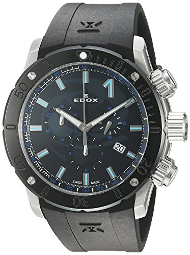 Edox Men's 'Chronoffshore-1' Swiss Quartz Stainless Steel and Rubber Diving Watch, Color:Black (Model: 10221 3N NINCU)