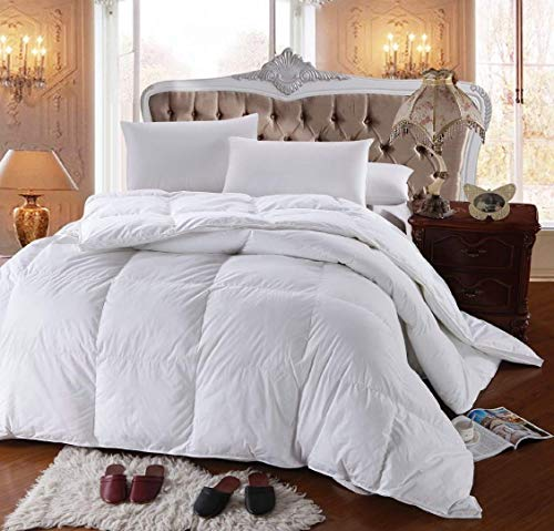 Royal Hotel's 300 Thread Count Queen Size Goose Down Alternative Comforter, Overfilled Comforter, Duvet Insert 100% Cotton Shell - 750FP - 70OZ - White Solid, Queen