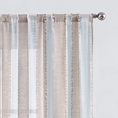 White Sheer Curtains with Striped Geometric Pattern Rod Pocket Window Curtain Panels 84