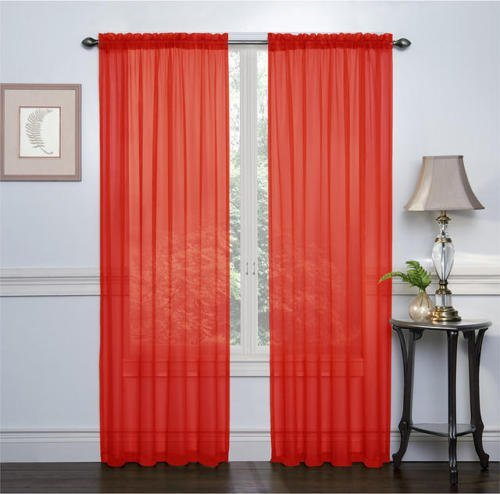 "HLC.ME Red 2-Pack 108"" inch x 84"" inch Window Curtain Sheer Panels"