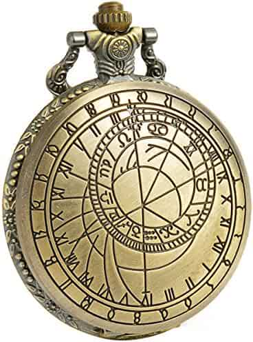 Smart.Deal Antique Full Hunter Doctor Who Bronze Case Quartz White Dial Chain Men Pocket Watch Dr. Who