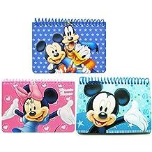 Disney ( 1 Mickey, 1 Minnie Pink, 1 Blue Mickey & friend ) Spiral Autograph Book - ( 5x4) Inch, Journals & Notebooks, Park and Theme,
