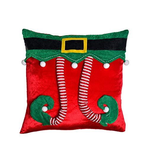 Teresas Collection Delightful Elf Christmas Pillow Cover 3D Elf Pattern, 18X18 Inch,Themed Tree Skirt(Not Included)