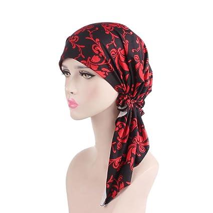 Turca Mujeres Estilo India Musulmán elástico Turban Largo Tail Hat Print Head Bufanda Wrap rojo rosso