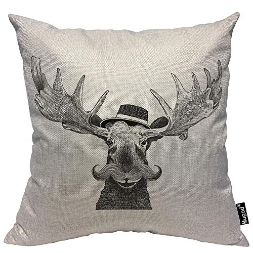 Mugod Moose Throw Pillow Cover Hipster Moose Large Mustache Cool Hat Antlers Funny Animal Humor Cotton Linen Square Cushion Cover Pillowcase 18x18 Inch for Home Decorative Bedroom/Living Room/Car -