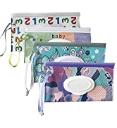 4 Pack Baby Wipe Dispenser,Baby Wet Wipe Pouch Container, Baby Wipes Container,Portable Refillabl...