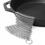 LauKingdom 7'x7' Cast Iron Cleaner, Stainless Steel Cast Iron Cleaner 316L Chainmail Scrubber for Cast Iron Pan, Ultra-hygienic Anti-rust Cast Iron Scraper with Corner Ring, Square