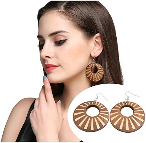 African Wooden Earrings for Women EVBEA Big Statement Circle Beautiful Earrings
