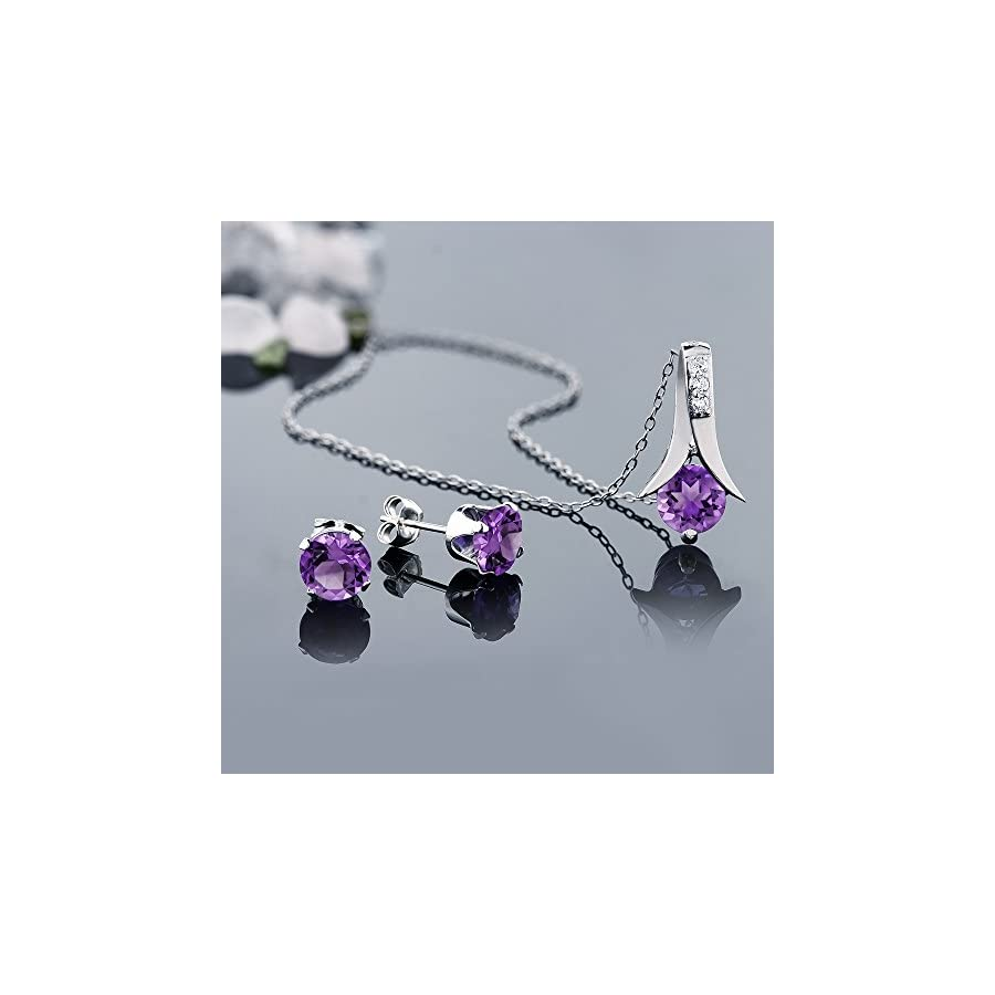 """Amethyst 925 Sterling Silver Round Cut Earrings Pendant Set 2.25 Carat with 18"""" Silver Chain"""
