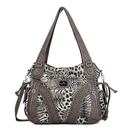Angelkiss Women Top Handle Satchel Handbags Shoulder Bag Messenger Tote Washed Leather Purses Bag ... (Brown-Leopard)