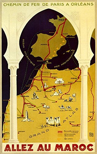 """16"""" X 20"""" Casablanca Morocco Map Travel Atlas Arab Arabic Tourism Vintage Poster Repro Standard Image Size for Framing. We Have Other Sizes Available!"""
