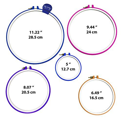 Circle Information Columbus - 5 Piece Embroidery Hoops-Cross Stitch Hoop Ring - 5 Inch to 11 Inches - Various Colors and Size for all needle craft needs-Durable Plastic Hoop Set-By HandiStitch