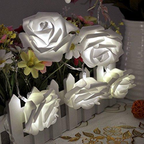 Zking 20 LED Battery Operated String Flower Rose Fairy Light Wedding Room Garden Christmas Decor (white)