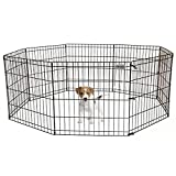 Cheap PetPremium Dog Puppy Playpen Pen   Indoor Outdoor Exercise Play Yard Outside   Pet Small Animal Puppies Portable Foldable Fence Enclosures   24″ Height, 8 Panel Metal Wire, Black