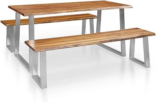 Goliraya Conjunto de Comedor de 3 Piezas Madera Maciza de Acacia marrón Conjuntos de Muebles de jardín: Amazon.es: Hogar
