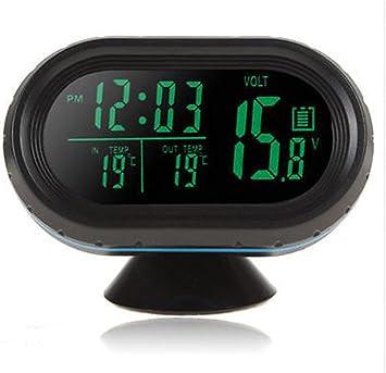 Hotsystem 12 24v Multifunktion Digital Uhr Voltmeter Und Thermometer Alarm 3in1 2 Lcd Anzeige Farben Zigarettenanz Nder Batterie Tester Gr N Orange Auto