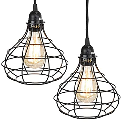 Rustic State Industrial Cage Pendant Light with 15' Black Fabric Plug-in Cord and Toggle Switch Includes Edison LED Bulb in Black Set of 2