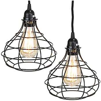 Rustic State Industrial Cage Pendant Light With 15 Black Fabric