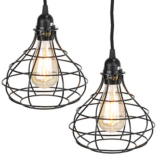 Pendant Lighting By Rustic State Authentic Vintage Lights: Rustic State Industrial Cage Pendant Light With 15' Black