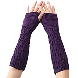 Kingko® Fashion Women's Serpentine Pattern Knitted Arm Sleeve Fingerless Winter Gloves Soft Warm Mitten