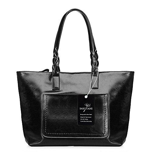 Sacoche à main en cuir véritable Sakutane pour femme, sac à main en cuir véritable, poignée vintage, Hb0042-noir (noir) -