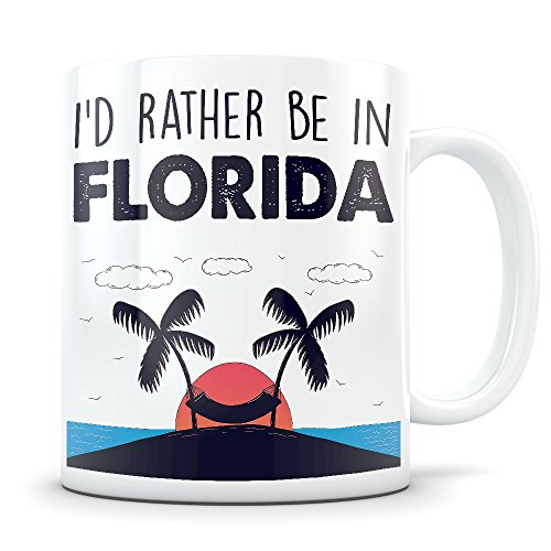 Florida Souvenir - Beach Vacation Themed Gift for Women and Men Who Travel - I Love Florida Coffee Mug for Snowbirds, Travelers, or Expats