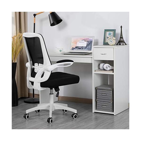Yaheetech Chaise de Bureau Ergonomique avec accoudoirs rabattables et Fonction Bascule