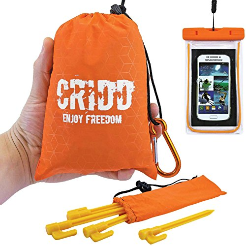 Portable Pocket Blanket Set for Outdoor Activities – Camping Picnic Hiking Gear – Compact Beach Blanket with 4 Stakes to Secure it, a Zipped Pocket for Valuables and a Waterproof Phone Case – 60''x55'' by CRIDD