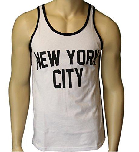 NYC FACTORY New York City Tank Top Screenprinted Ringer Lennon -M