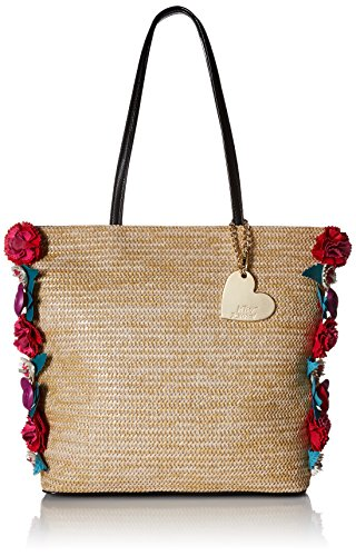 Betsey Johnson Gypsy Rose Straw Flower Tote, Natural