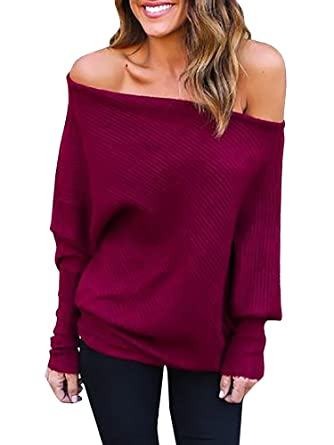 a96a05b4adb Bigyonger Womens Off Shoulder Sweaters Oversized Batwing Sleeve Loose Knit  Pullover Jumpers