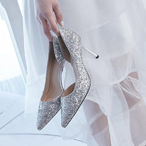 d'onore matrimonio leggiadramente con cristallo 5cm Primavera riuniscono Fine da Bridal Scarpe Tacco estate del damigella alto si YLLHX autunno sandali 7 prom donna appuntito qazWpOA