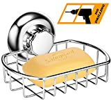 MaxHold No-Drilling/Suction Cup Soap Dish/Soap Basket - Vaccum System - Stainless Steel Never Rust - for Bathroom & Kitchen Storage