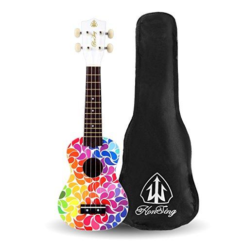 Honsing Soprano Ukulele Colorful Floral petal Painting Hawaii kids Guitar 21 inch Gift for Beginner matte finish - Image 8