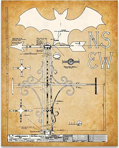 Bat Weather Vane - Haunted Mansion Walt Disney World - 11x14 Unframed Art Print - Great Gift for Disney Fans