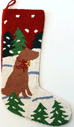 Alpine Mountain Yellow Labrador Retriever Dog Hooked Wool Christmas Stocking- Large 21