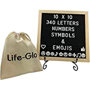 Felt Board with Letters - 10 x 10 inches, 340 Characters Including Emojis, Huge Bag and Black Iron Stand, Black Felt Changeable Message Board Sign with Wood Frame by Life-Glo