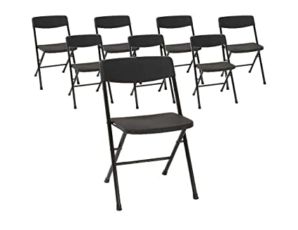 Stupendous Cosco 37825Blk8E Resin Molded Seat And Back Black Folding Chair 8 Pack Creativecarmelina Interior Chair Design Creativecarmelinacom