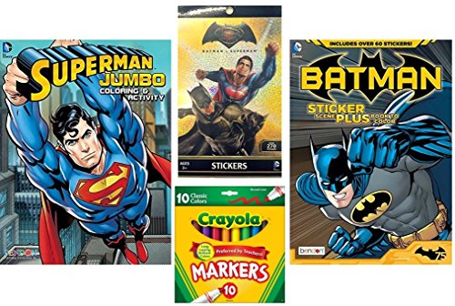 Batman vs Superman Coloring and Activity Books with Over 60 Stickers and 3 Sticker Scenes Plus Sticker Book with 270 Stickers and 10ct Crayola Markers